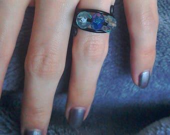 Three bead black adjustable statement ring