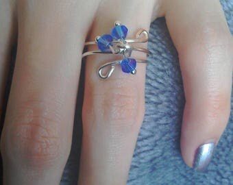 Czech glass crystal silver plated adjustable cluster ring