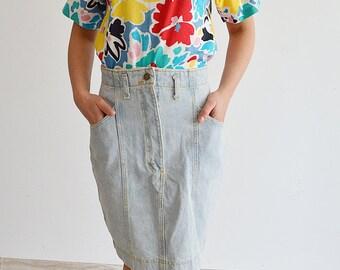 Jeans pencil skirt Vintage 80s, denim skirt, high waist