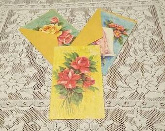 Unused Vintage Floral Birthday Greeting Cards