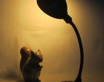Vintage Cast Metal Goose-Neck Desk Lamp w/Bronze Finish