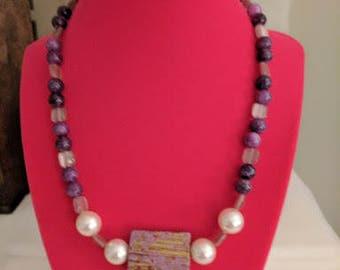 Dyed Quartzite Beaded Purple Necklace