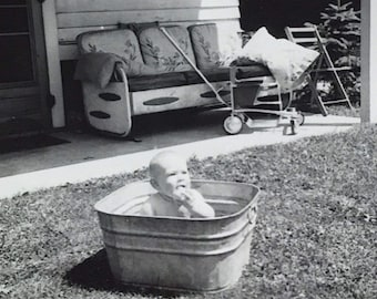 Baby in Galvanized Tub Black White Funny Photo Vintage 1950s Paper Altered Art Supply Ephemera Snapshot Old Photo Collectibles #14