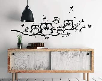Wall stickers OWL OWL OWL branch Eulenwandtattoo