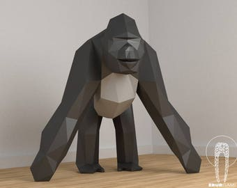 Low Poly XXL King Kong, Create Your Own 3D Papercraft Gorilla, Origami Monkey, King Kong, Gorilla 3D, Eburgami