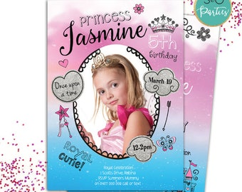 Princess party invitation // Princess Invites // Girls Birthday Card // Little Princess // Girls Party // Beautiful Princess Party