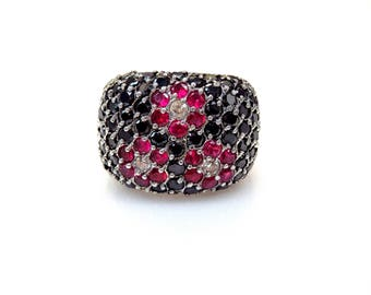 Sterling Silver Round Cut Multi-color Cubic Zirconia Flower Design Ring