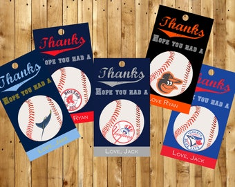 Party Favor Tags for New York Yankees, Boston Red Sox, Tampa Bay Rays, Toronto Blue Jays, and Baltimore Orioles