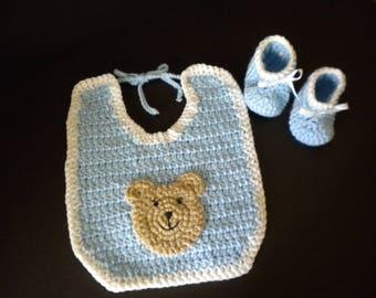 Crochet baby bib and booties,