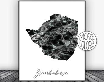 Zimbabwe Print, Travel Map, Zimbabwe Map Print, Travel Decor, Travel Prints, Living Room Wall Art Prints, Office Pictures, ArtPrintsZoe
