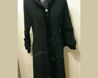 Chacok Black Victorian Style Long Cardigan Sweater Coat Size 2