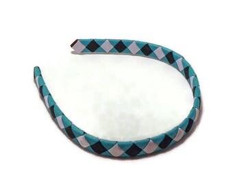 Girls Headband // Turquoise Black White Headband // Woven Headband