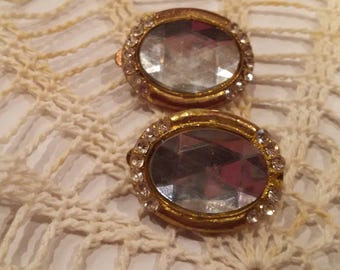 Gold clear stone clip on earrings
