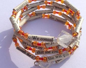 Orange and Red Sense and Sensibility Book Bead Bracelet