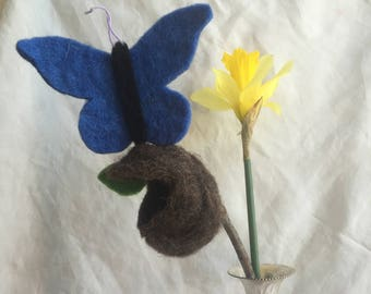 Waldorf Felt Blue Butterfly and Cocoon