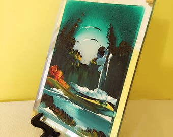 Painting on glass. Seascapes and mountain. Handicrafts made in Italy