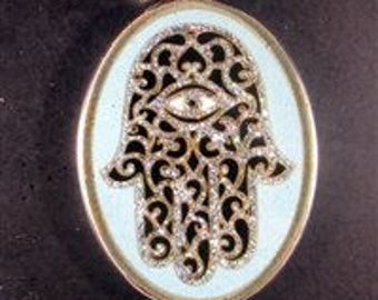 Hamsa turquoise Gemstone Pendant