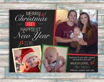 Christmas Card, Holiday Family Greeting Card, Custom Christmas Card, Mistletoe