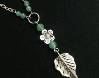 Green Aventurine Flower and Leaf Necklace