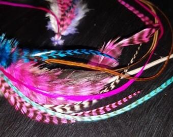 "20 XL Cotton Candy Mix Salon Grade Feather Hair Extensions 7-13"""