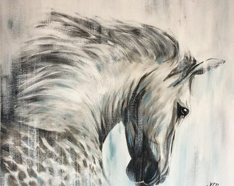Sweetness and sadness, acrylic painting of a horse. 24 x 24 in
