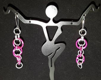 Pink and silver Chainmail Earrings