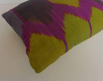 Uzbek Silk Ikat Lumbar Pillow 13 x18