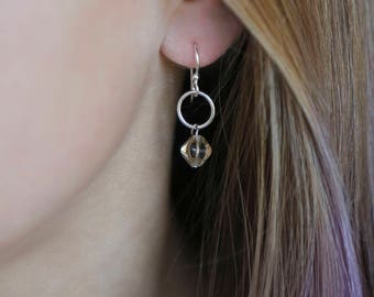 Sterling Silver Earrings with Silver-Coated Hoop & Golden Shadow Gem