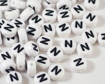 100 white letter beads *N*, alphabet beads, 7mm