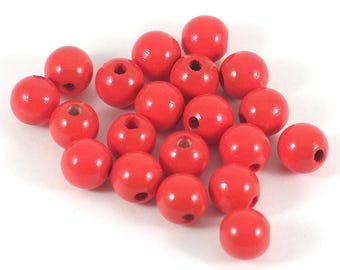 Wooden beads, red, 10mm, *non-toxic*