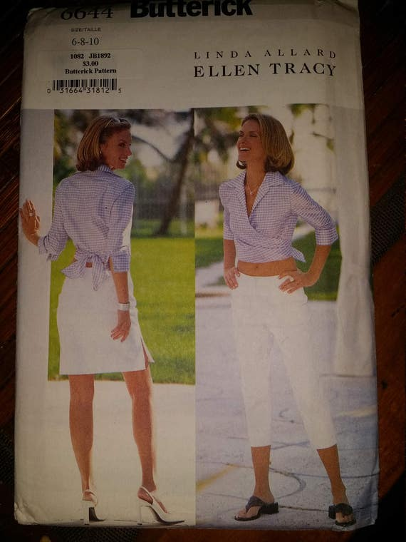 Butterick 6644 sz 6-8-10  wrap alter and capri pants and skirt pattern