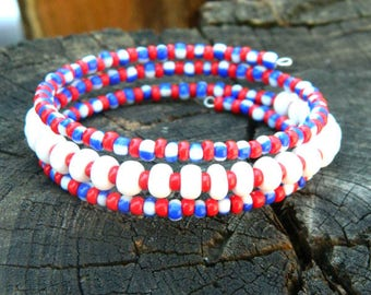 usa flag patriotic bracelet 4th of july red white and blue holiday jewelry gift for her best friend gift for women american independence day