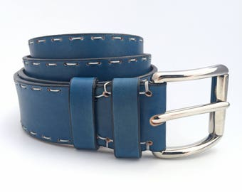 Blue Leather Belt - Handmade in Italy Unisex Belt
