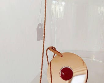 TERMINATOCollana 80 cm round pendant long rosé silver with agate and Bordeaux. Also available with square and black agate pendant