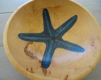 Coastal Hand Painted Wooden Bowl Blue Starfish