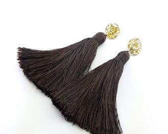 glitter circle chocolate earrings