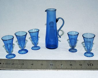 Antique Glass Dollhouse Miniatures Jug and Stemmed Glasses
