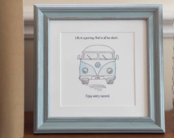 Framed VW campervan print- life is a journey