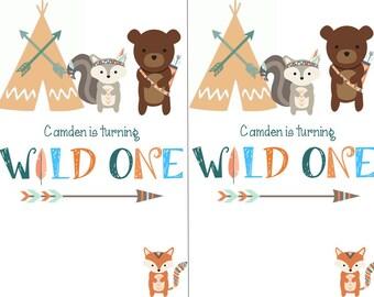 Woodland/Wild One kids birthday invitation