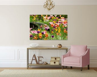 Beautiful Gallery Wrapped Canvas New York City Central Park Tulips