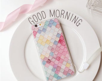 Pastel color block textured iphone case