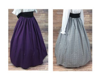 Renaissance - Civil War - Victorian - Southern Belle - LARP - Cosplay - Dickensonian - Pioneer - Skirt Only - 5 colors - dress costume