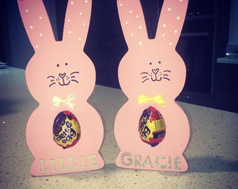 Large Easter Bunnies with chocolate egg