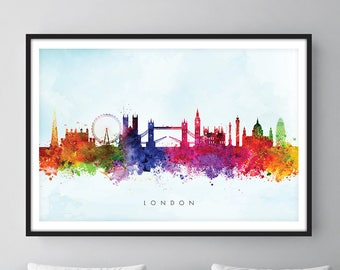 London Skyline, London Cityscape England, Art Print, Wall Art, Watercolor, Watercolour Art Decor [SWLDN03]