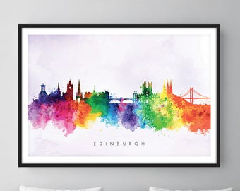 Edinburgh Print, Edinburgh Skyline, Edinburgh Scotland, Office Decor, City Wall Art, Watercolor Skyline, Watercolor City Print [SWEDI02]