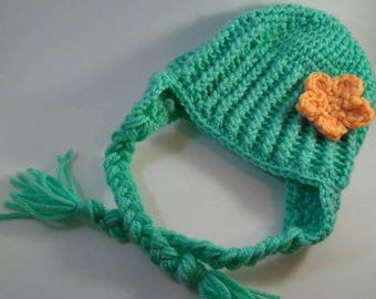 Baby Ribbed Earflap Hat With Flower.