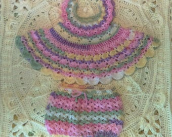 Crocheted Baby Sundress/ Toddler Summer Set with Bloomers
