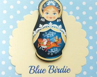 Russian doll brooch Russian doll jewelry blue Russian doll badge nesting doll brooch Russian doll jewellery Russian doll gift