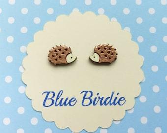 Hedgehog earrings hedgehog jewelry hedgehog jewellery small hand painted hedgehog earrings woodland earrings copper hedgehog gift
