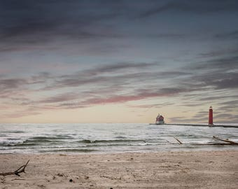 Lighthouse photography, lighthouse print, grand haven photography, lake michigan photography, sunset over lake michigan, great lakes prints